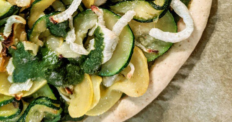 Pesto Pizza with Fennel, Zucchini & Squash (Top 8 Free)