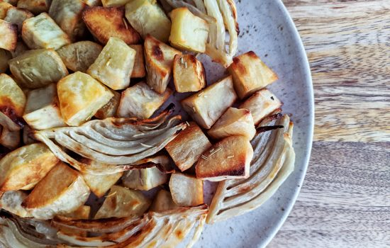 Roasted Fennel & White Sweet Potatoes