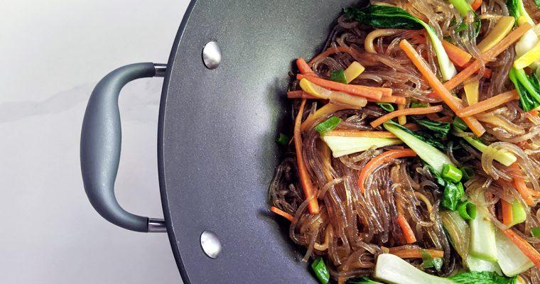 Vegan Japchae with Bok Choy