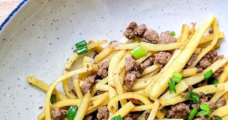 Matchstick Sweet Potato & Beef Stir Fry