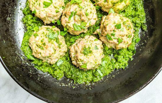 Easy Baked AIP Kale & Turkey Meatballs